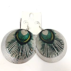 Jewelry - Peacock Round Metal Circle Earrings Silver Blue